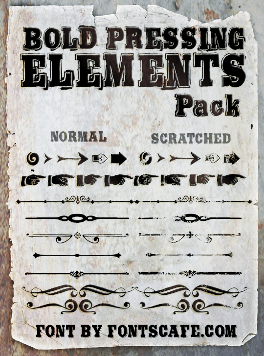 """Bold Pressing Elements Pack"" fonts"