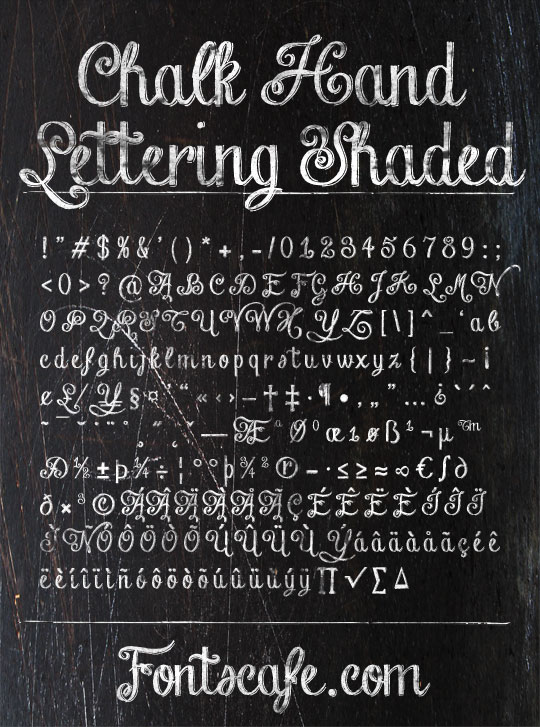 Chalk Hand Lettering-Shaded, a curly drop-shadowed