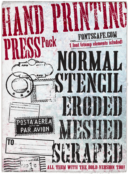 """Hand Printing Press Pack"" fonts 