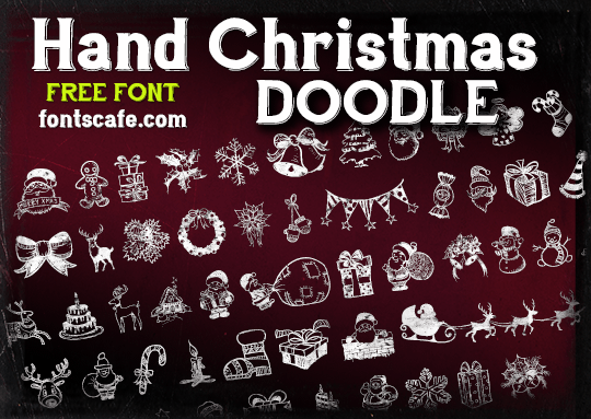 fontscafe.com Hand Christmas Doodle free font poster graphic