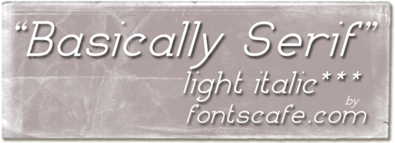 """Basically Serif LI"" font"
