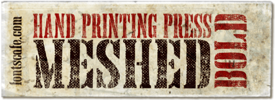 """Hand Printing Press Meshed Bold"" font"