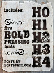 """Bold Pressing Typography Pack"" fonts"