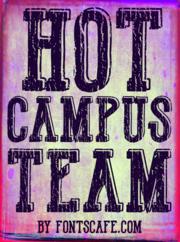 """Hot Campus Team"" font example"