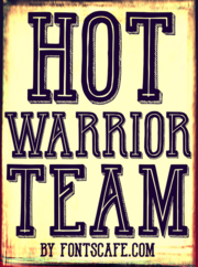 """Hot Warrior Team"" font example"